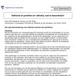 Reflectie en portfolio en reflectie, wat te beoordelen?